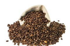 Bag with coffee beans Royalty Free Stock Photos