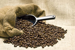 Bag Of Coffee Beans With Scoop And Burlap Background Royalty Free Stock Image