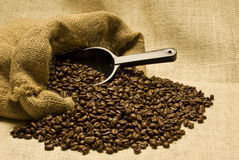 Bag of Coffee Beans With Scoop Revised Stock Photo