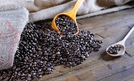 Bag of coffee beans. Royalty Free Stock Photo