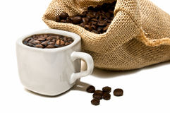 Bag of coffee and coffee cup Stock Photo