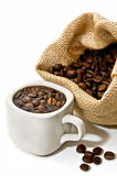 Bag of coffee and coffee cup Stock Images