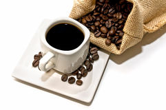 Bag of coffee and coffee cup Stock Image
