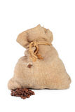 Bag of coffee and coffee-grain Stock Photography
