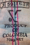 Bag Coffee From Colombia Royalty Free Stock Photo