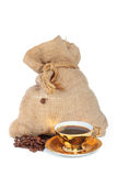 Bag of coffee, cup of coffee Royalty Free Stock Image