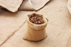 Bag with coffee grains Stock Image