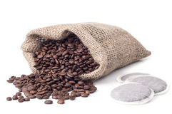 Bag with coffee grains Stock Photos