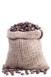 Bag with coffee grains Royalty Free Stock Photos