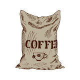 Bag of coffee Hand Drawn Sketch Vector illustration. Royalty Free Stock Images