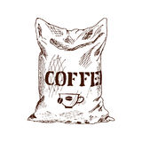 Bag of coffee Hand Drawn Sketch Vector illustration. Stock Photos