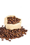 Bag coffee seed Royalty Free Stock Images