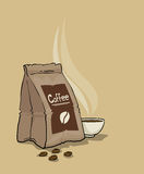 Bag of coffee and a steaming cup Royalty Free Stock Images
