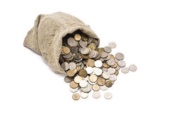 Bag with coins Stock Photos