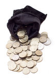Bag Of Coins. Bag with various coins  isolated on white background Royalty Free Stock Photography