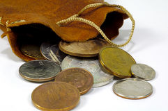 Bag of Coins 2. Bag with Various Coins Stock Photos