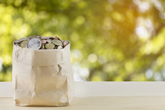 Bag of coins with abstract nature bokeh blur background Royalty Free Stock Photography