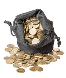 Bag of coins Stock Photography