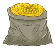 Bag of coins Royalty Free Stock Photos