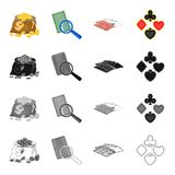A bag of coins, a marked card, a deck of playing cards in the casino, a card suit. Casino set collection icons in. Cartoon black monochrome outline style vector Royalty Free Stock Image