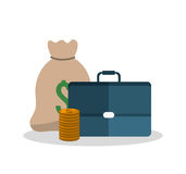 Bag coins and suitcase design. Bag coins and suitcase icon. Money financial item commerce market and payment theme. Silhouette design. Vector illustration Stock Photography