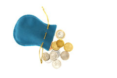 Bag with coins Royalty Free Stock Image