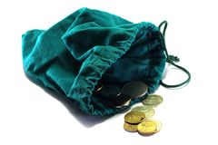 Bag with coins Royalty Free Stock Photo