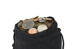 Bag of coins on a white background Stock Photo