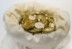 Bag of coins on a white background Royalty Free Stock Photography