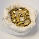 Bag of coins on a white background Royalty Free Stock Images