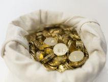 Bag of coins on a white background Royalty Free Stock Photo