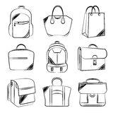 Bag collection. Set of 9 hand drawing line and sketch bag icons Royalty Free Stock Photo