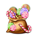 Bag with colorful spiral lollipops. Vector sweets Royalty Free Stock Photos
