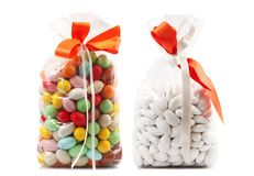 Bag of comfits in white background royalty free stock photos