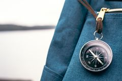 Bag and compass in the nature royalty free stock images