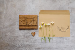 Bag content accessories collection in beige color theme with bag, paper tag, chamomile Royalty Free Stock Photography