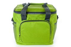 Bag cooler bright green for carrying and storing products stock photo