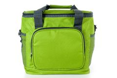 Bag cooler bright green for carrying and storing products royalty free stock photo
