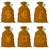 Bag with currency signs Royalty Free Stock Photography