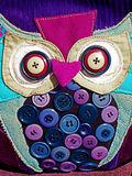 Bag decorated with colorful buttons Royalty Free Stock Photography