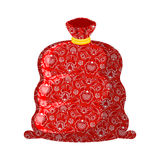 Bag ded moroz- Russian Santa Claus father frost. Big red sack Royalty Free Stock Photo
