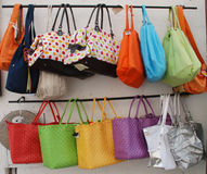 Bag Display. A display of bags for sale outside a shop stock photography