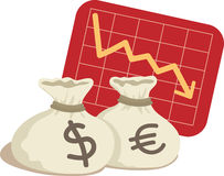 Bag of Dollar and Euro. With Chart Down Vector Illustration