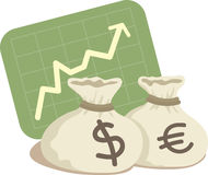 Bag of Dollar and Euro. With Chart Up Royalty Free Stock Photo