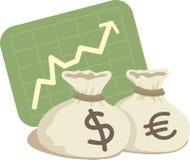 Bag of Dollar and Euro Royalty Free Stock Photo