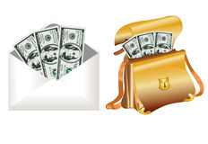 Bag dollar money envelope Stock Photo