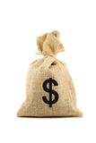 Bag with dollar sign. Brown bag with dollar sign. Isolated on white Royalty Free Stock Images
