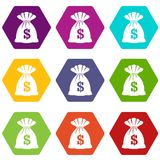 Bag with dollars icon set color hexahedron. Bag with dollars icon set many color hexahedron isolated on white vector illustration Royalty Free Stock Images