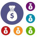 Bag with dollars icons set. In flat circle reb, blue and green color for web Stock Image