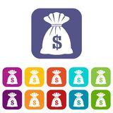 Bag with dollars icons set. Vector illustration in flat style in colors red, blue, green, and other Stock Image